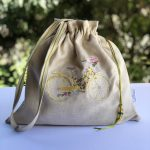 Linen Pouch – Drawstring Handles Embroidery Bag