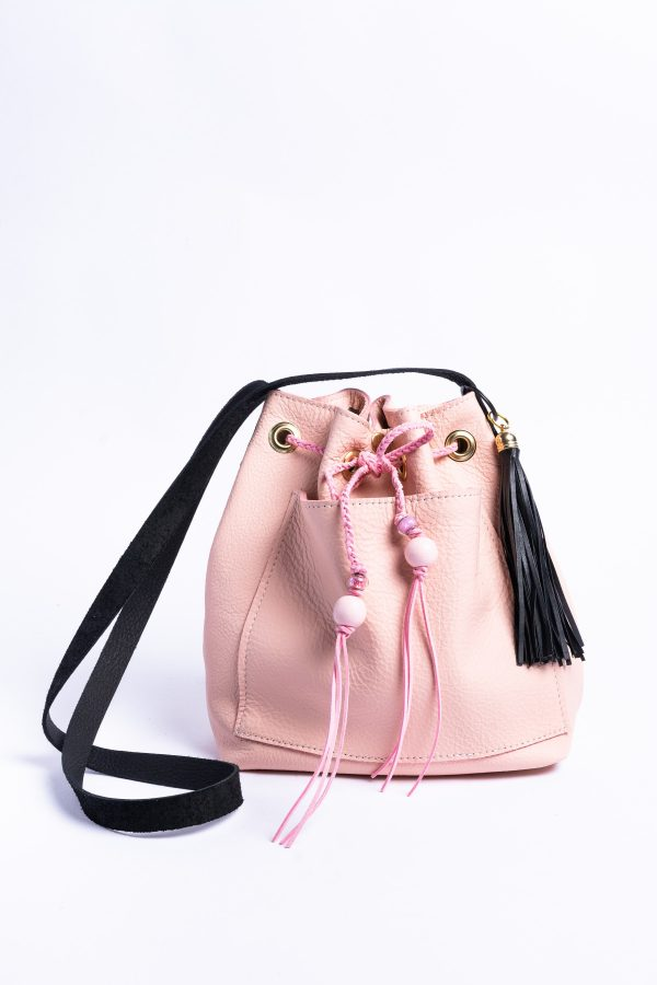 Pink and Black Bucket Leather Bag