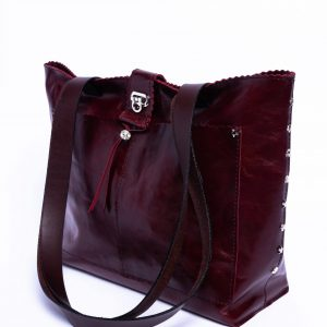 Red Wine Louise Tote Bag – Medium Size Purse – Elegant Leather Bag