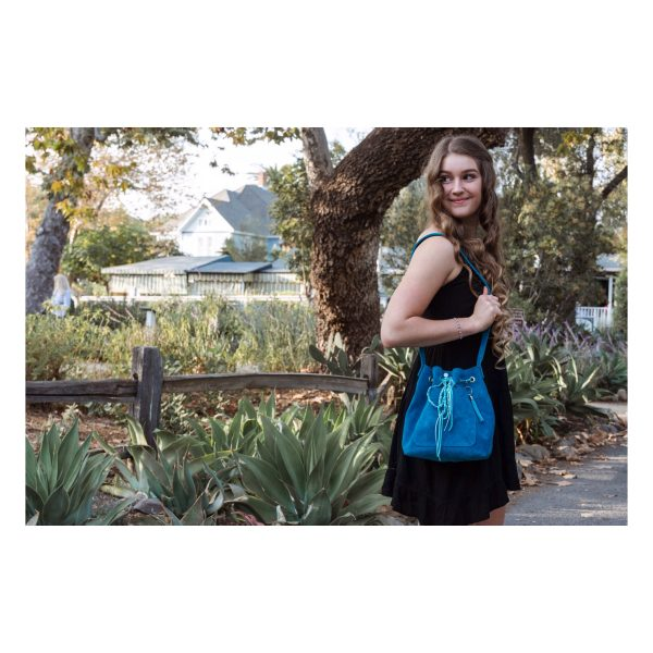 Blue Turquoise Bucket Bag - One Pocekt Outside - Tassel - Decorative cord