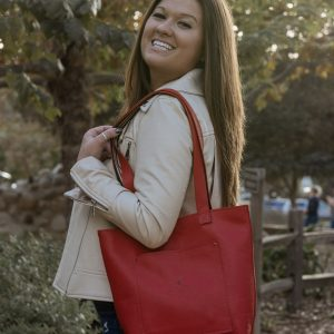 Esther Tote Red Bag – Feminine Bag – Leather Good Bag – Medium Tote Purse