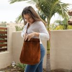 Venezia Bag – Crossbody Suede Purse – Large Pockets Bag – Travel Item – Handcrafted by Campana Bags – Adjustable Leather Handles