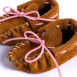 Baby Suede Moccasins – Boy or Girl – Pink Lace or Blue Lace – Handmade Baby Shoes