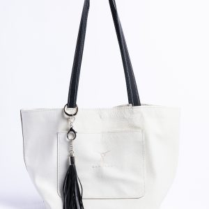Zha Zha Tote – Medium Size Tote Bag – Front Pocket Bag – Black and White – Summer Medium Purse – Shopping and Traveling Bag