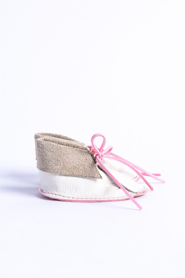 Baby Girl white and pink leather handmade shoes