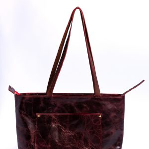 Zippered Prima Tote Bag – Medium Size Leather Bag – Any time Shopping Bag – Pockets and more