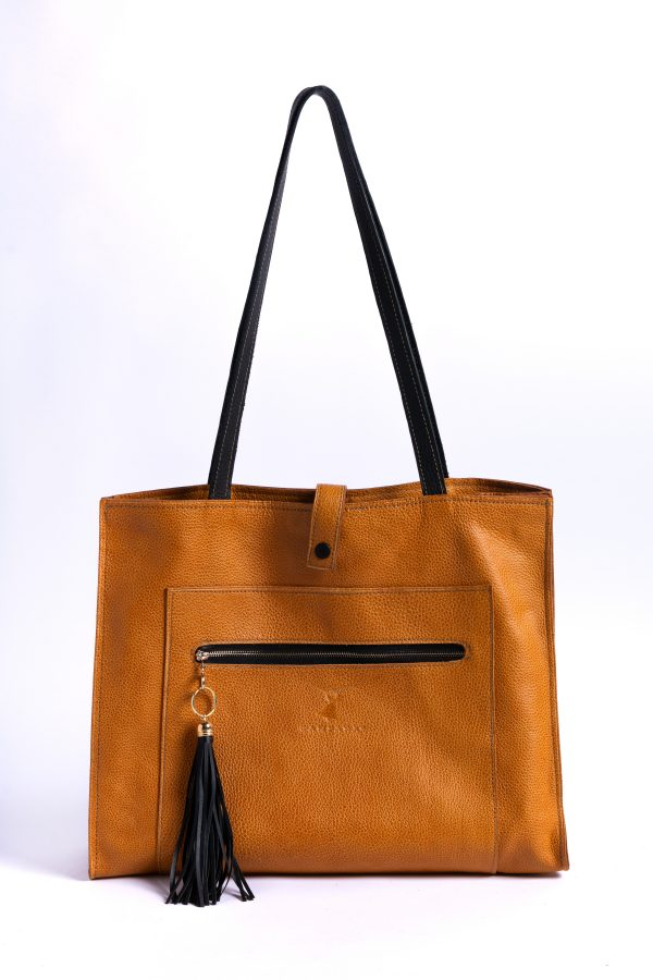 Front View of Cecile Tote Leather Bag