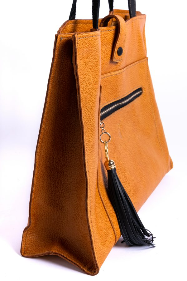 Side View of Cecile Leather Tote Bag
